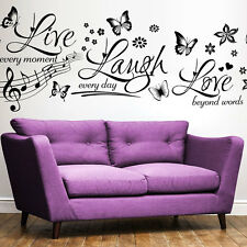 Live Laugh Love Butterfly Premium Wall Art Vinyl Sticker Modern Quote Home Decor