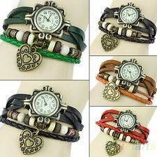 Womens Chic Popular Retro Leather Bracelet Heart Decoration Quartz Wrist Watch
