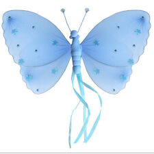 Girls Bedroom Decor Nylon Hanging Butterfly Blue Ribbons Ceiling Wall Baby Room