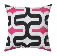 Hot Pink and Black Pillow Embrace Black Candy Pink White Decorative Throw Pillow