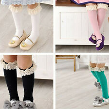 Cute Toddler Baby Girls School Sock High Knee Tights Lace Cotton Socks Stockings