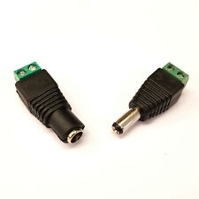 PLUGZ2GO SET OF MALE & FEMALE 2.5MM X 5.5MM DC POWER CONNECTORS for CCTV/REPAIRS