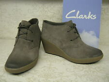 Ladies Clarks Nice Melody Grey Suede Leather Lace Up Wedge Ankle Boots D Fitting