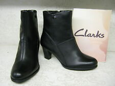 Ladies Clarks Lease Party Black Leather Smart Zip Up Ankle Boots D Fitting