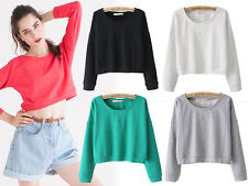 HOT Casual Plain Colorful Round Neck Cropped Sweat Shirt Hoody Loose Short Top