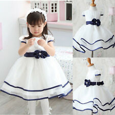 Crazy Sale Baby Girl Clothes Fancy Formal White Princess Party Gown Dress 6M-3Y
