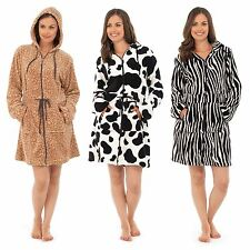 Ladies Womens Dressing Gown Bath Robe Animal Print Pyjamas Soft Fleece Sleepwear