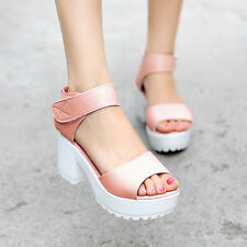 free shipping womens punk sandals opentoe ankle strappy chunky block heels