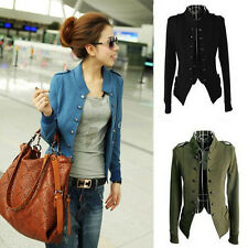 Fashion Women Epaulet Long Sleeve Stand-up Collar Double Buttons Coat Jacket