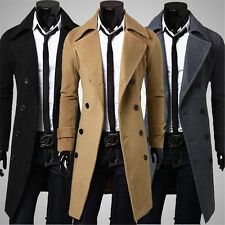 Mens Cashmere Trench Long Coat Winter Warm Jacket Double Breasted Overcoat S-XXL