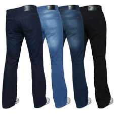 New Mens Enzo Designer Blue Black Cargo Combat Denim Jeans Pants All Waist Sizes
