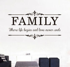 Family & Love Removable Wall Stickers Wall Quotes Art Mural Home Decor Decal AU