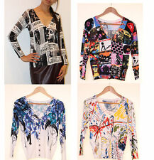 NEW IN LADIES ROCK CONCEPT NEWSPAPER MODERN PAINT BLUE FLORAL VISCOSE CARDIGAN