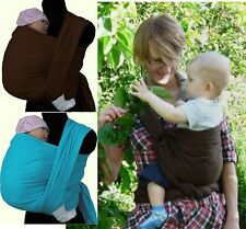 BABY SLING CROSS TWILL WOVEN WRAP CARRIER 100% COTTON  BROWN TURQUOISE SAFE SOFT