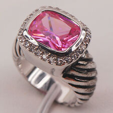 Pink Sapphire White Topaz 925 Sterling Silver Gemstone Ring Size 6 7 8 9 10 F643