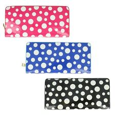 Ladies 72699 Polka Dot Zip Fastening Purse in Navy, Black or Fuchsia by Ella