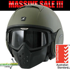 SHARK Metro Division Raw Matte Green Motorcycle for Road Bike Helmet Open Face