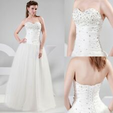 Cheap Sale Stunning Strapless Tulle Bridal Bride Wedding Dress Long Party Gowns