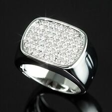 Real .925 Silver Micropave Cubic Zirconia Bling CZ Iced Out Hip Hop Pinky Ring