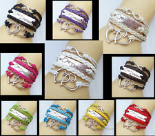 One Direction Love Heart Hand-knitted Leather Bracelet Charms Friendship