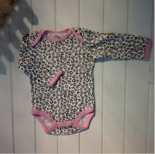 Cotton Fall Girls'baby Infant Bodysuit Long Sleeve Leopard Pink Stripe shirt K26