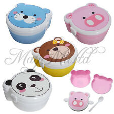 Microwaveable Plastic Cartoon Double Layer Bento Lunch Meal Case Box & Spoon W