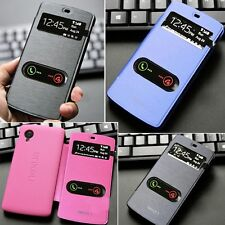 6 Colors Windows Flip PU Leather View Cover PC Back Case For LG Google Nexus 5