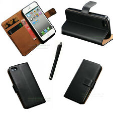 Genuine Real Leather Case Card Holder Wallet Cover For iPhone Samsung+free Stylu