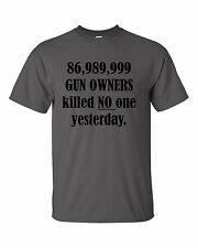 GUN OWNER GUNS KILL KILLED NO ONE CARRY PERMIT RESPONSIBLE RIGHTS SHOOT T-SHIRT