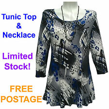 New Ladies Tunic Top & Necklace. Womens Tunic Size 10-12, 14-16, 18-20 & 20-22