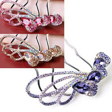 Hot Crystal Rhinestone Wedding Flower Hair Clip Hair Comb For Women Bride Party
