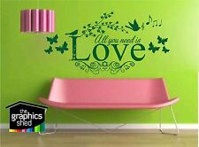 All You Need Is Love, Vinyl Wall Art Sticker, Decal Mural, Bedroom, Lounge cute