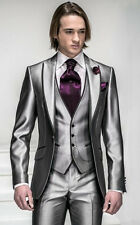CUSTOM MADE TO MEASURE RED MEN SUITS, Silver With Black Trim Tuxedos Peak Lapel