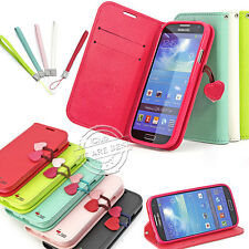 LEATHER FLIP STAND WALLET MAGNETIC CHERRY CASE COVER FOR SAMSUNG GALAXY S4 I9500