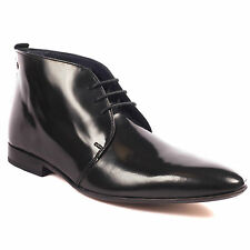 Base London Tails Mens Leather High Shine Black Lace Up Boots