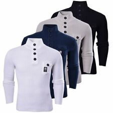Crosshatch Mens Funnel Neck Ribbed Jumper Knitwear Button Up Pullover Top