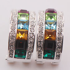 Garnet Peridot Aquamarine Citrine Emerald 925 Sterling Silver  Earrings TE470