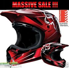 Fox 13 V4 Future MX Helmet Red Black Race Rider Motocross Off Road Dirt Bike ATV