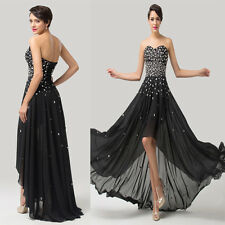 High-low Chic Beads Black Sexy Evening Bridesmaid Prom Dress Formal Party Gowns