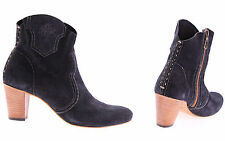 Men's Shoes Ankle Boots LA MARTINA L4160118 Suede Blue Heels Made In Italy New