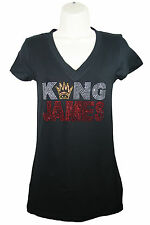Cleveland Cavaliers King James Rhinestone Bling Fitted Women's Deep V-Neck Shirt