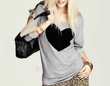 Casual T-shirt Round Neck Love Sweet Heart Printed Long Sleeve Tee Cotton Tops