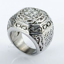Rock N' Roll Carved Cross Crown Silver 316L Stainless Steel Boy Mens Signet Ring