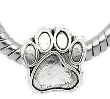 Wholesale Lots Silver Tone Dog's Paw Beads Fit Charm Bracelet