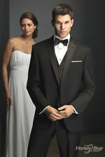 HOT-CUSTOM MADE TO MEASURE TAILORED MEN SUITS,BESPOKE CLASSIC BLACK WEDDING SUIT
