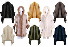 Ladies Celebrity Trendy Luxurious Shawl Faux Fur Trimmed Poncho Capes O/S 8-18