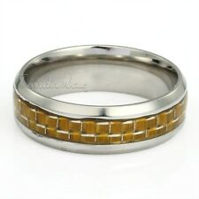 8mm Check Plaids Band Yellow/Black/Clear Resin Silver Stainless Steel Mens Ring