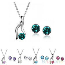 Women's Korean Amazing Gold Plated Austrian Crystal Bridal Necklace Earrings Set