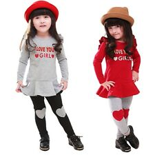 Girls Kids 2 Pcs Outfit Sets T-shirt Skirt Top+Heart Leggings Pants Dress Sz 2-7