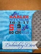 "Personalised Embroidered Baby Blankets ""BIRTH DETAILS"""